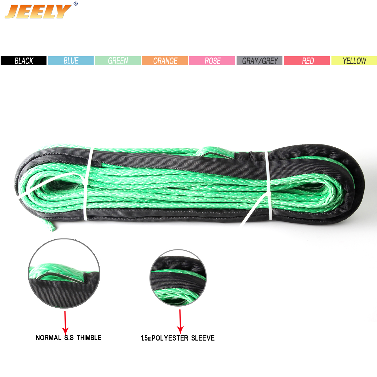15MM 40M UHMWPE Synthetic 4X4 Towing Winch Rope With Thimble 12 Weave