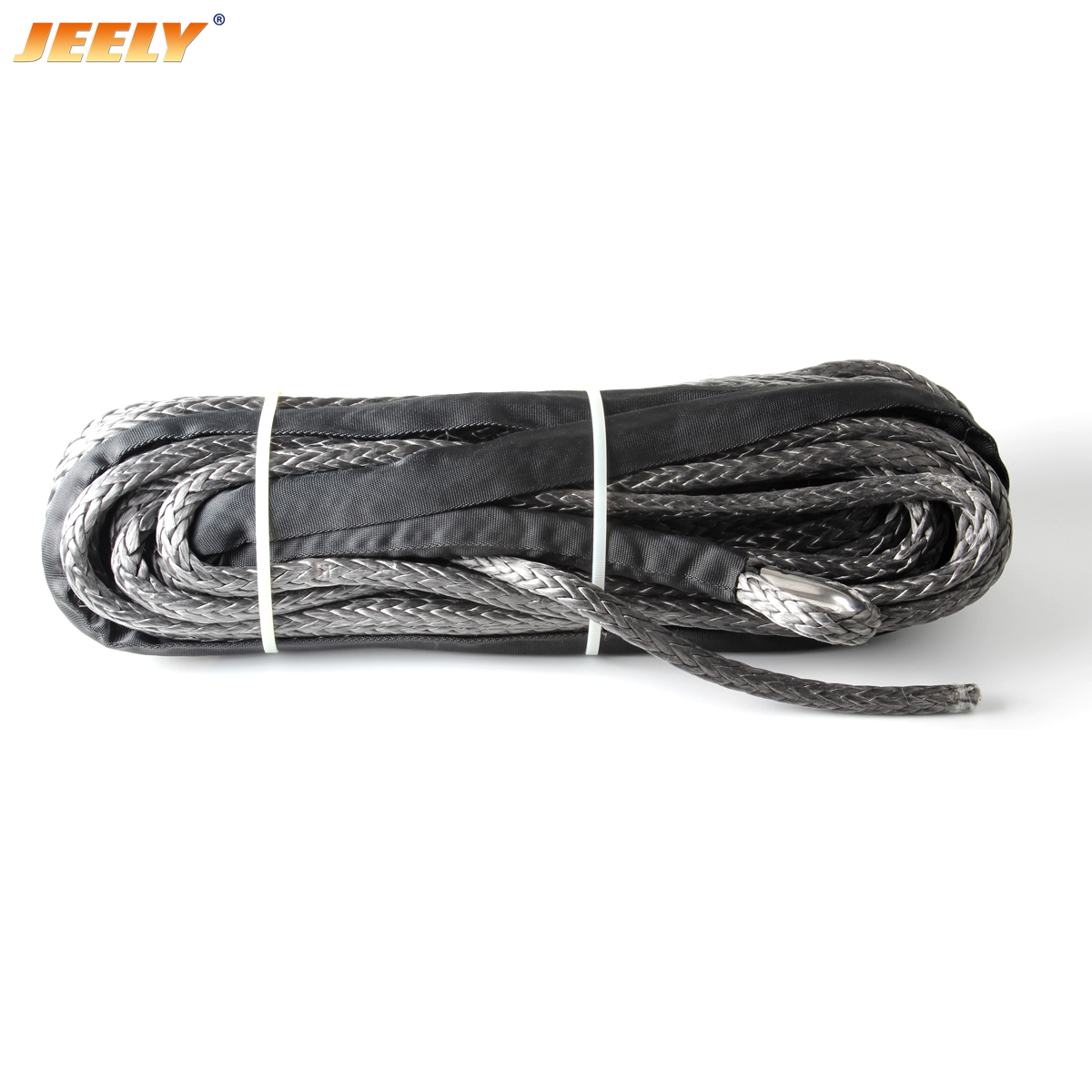6mm*24m 12 strand off-road uhmwpe synthetic towing winch rope with 1.5m sleeve and thimble for ATV/UTV/SUV/4X4/4WD