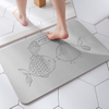 390mmX600mm Carved stripes Customized Color and Pattern Absorbent Diatomite Bath Mat